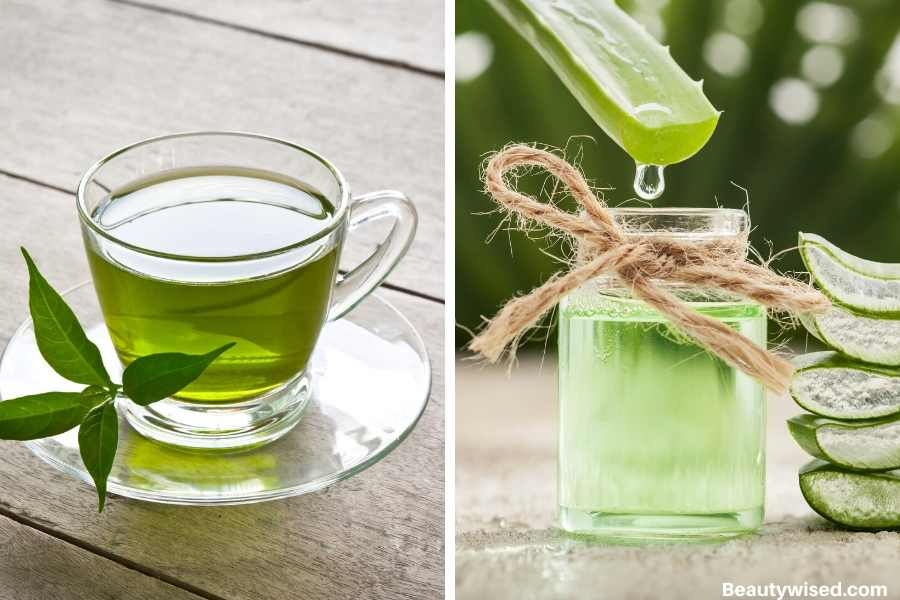 green tea and aloe vera face mask for bright skin