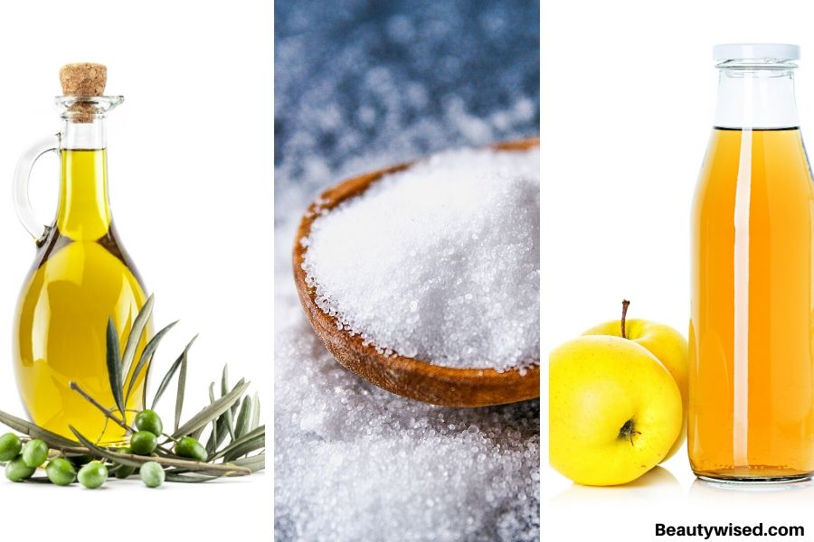 Apple cider vinegar, salt and olive oil for lice treatment