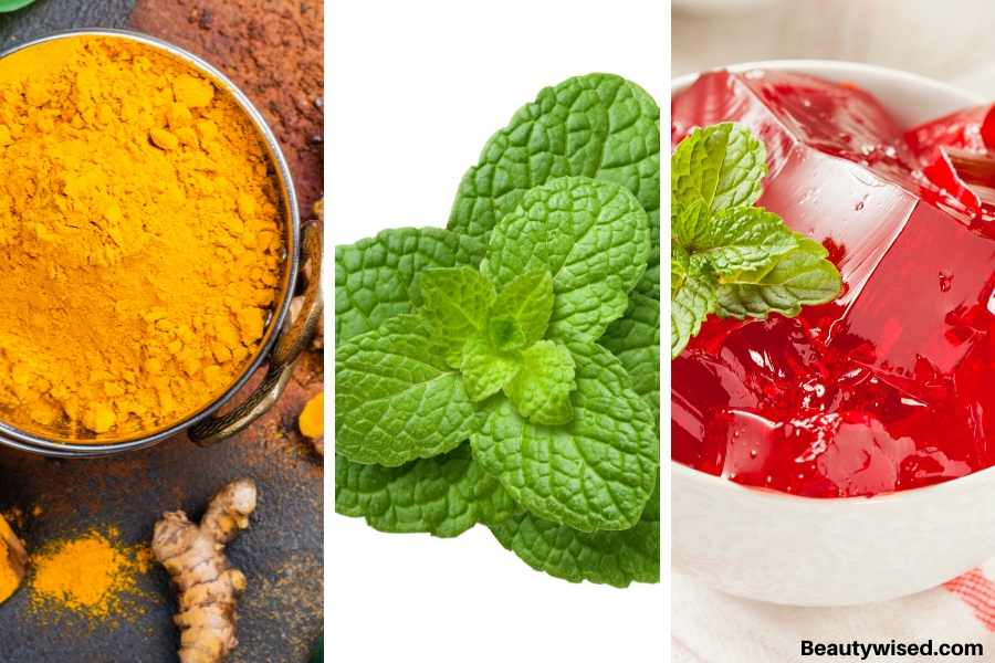 Tumeric mint and gelatin face mask for blackheads on nose