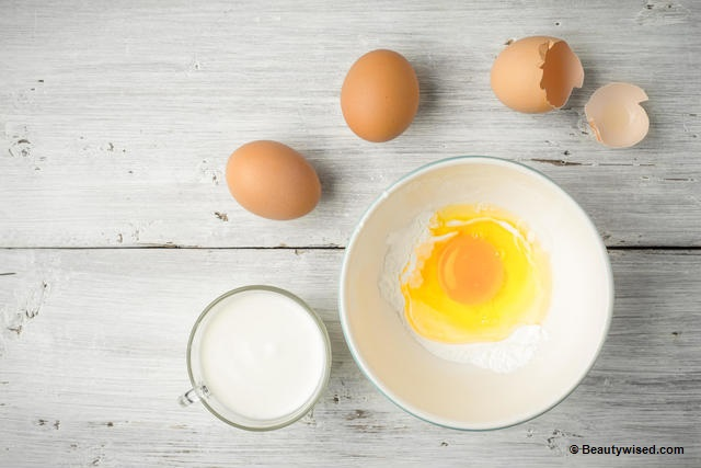 DIY Egg yogurt protein hair pack